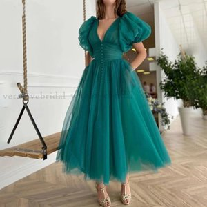 Green Prom Dress With Pocket Ankle Length Short Sleeves V Neck Dot Tulle Evening Party Gowns Arabic Cocktail Graduation Wear