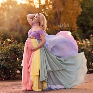 2021 Plus Size Colorful Wedding Dresses A-Line Off Shoulder Custom Made Pregnant Women Long Rainbow Chiffon Wedding Gowns Maternity Dress