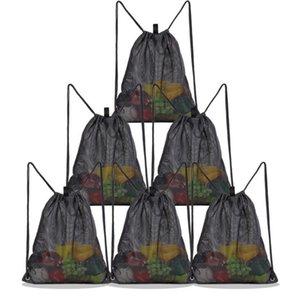 DHL Stuff Sacks Women Nylon Mesh Black Large Capacity Protable Beach Drawstring Bag