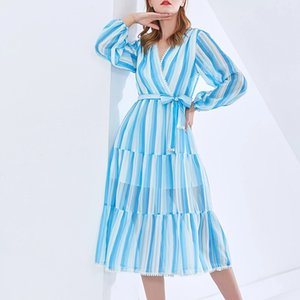 European and American spring and summer new style V-neck blue striped waist lace-up dress(S-3XL)