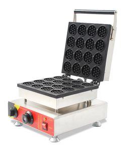 Elektrikli Mini Yuvarlak Waffle Makinesi Yapışmaz Küçük Kek Makinesi 52x52mm 16 Kalıplar Ev Yemek Sokağı Için 1500 W