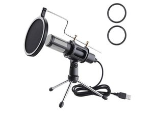 Condenser USB Microphone with Tripod Stand for Game Chat Skype YouTube Studio Audio Recording Laptop Computer