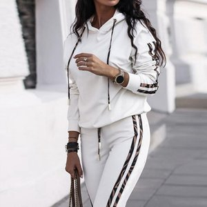 Laamei 2021 Women's Fashion 2 Piece Set Tracksuit Long Sleeve Patchwork Hoodies + Pants Jogging Female Suits Sportswear Sports
