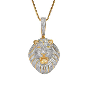 Hip hop Iced Out Bling CZ Lion head Pendant Iced Out Animal Necklace With Rope Chain Fashion Jewelry