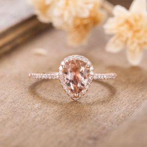 Huitan anel de aniversrio de casamento de luxo com forma pra enorme cz prong configurao rosa cor ouro moda anis no