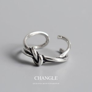 Ring Cal 925 Sterling Silver simple opening double layer knot net red fashion Korean personality