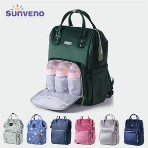 Sunveno Fashion Diaper Bag Backpack Baby Bags for Mom Designer Travel Bag Organizer Stroller Nappy Maternity Bag Baby Changing 210923