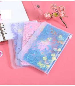 A6 PVC Notebook Pocket with 6 Holes Glitter Plastic Binder Inserts Pockets 6 Ring Loose Leaf Bags Filofax Zipper Envelopes Flakes LLS750