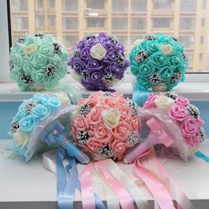 Hot saling Romantic Artificial PE Foam Champagne Rose Wedding Bouquets Bridal Hand Flowers Bouquets Bridal Accessories
