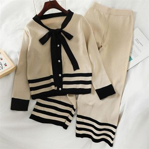 Women's Two Piece Pants Korean Fashion Chic 2 Set Women Long Sleeve Sweater Cardigan Autumn Winter Knitted Sets Outfits