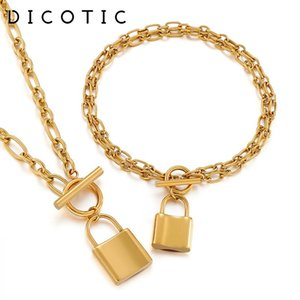 Earrings & Necklace DICOTICO Fashion LOCK Pendant Charm Bracelets For Women 316L Stainless Steel Jewelry Sets Mujer Wedding Party