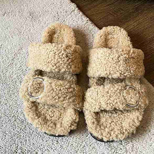 2021 temperament women new Loafers Fur Muller Slipper Print Fluffy Furry Slippers Warm Comfortable Beautiful Flip Flop top quality