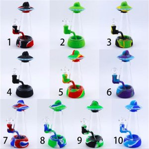 Factory Newest 8.9 Inch UFO Shape Glass Bowl Hookah Water Bong Shisha Silicone Smoking Tobacco Pipes