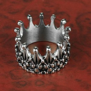 Cluster Rings Mens Vintage Nobility King Crown Ring Silver Color 316L Stainless Steel Biker Punk Fasion Jewelry Gift For Men