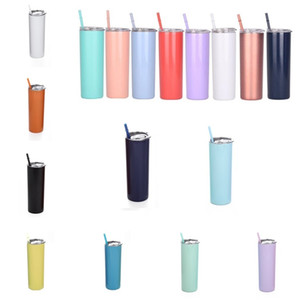 Kitchen 20oz Skinny Tumbler Beer Cup With Lid  Same color Straw Vacuum Flask Insulated Mug Stainless Steel Thermos Straight Cups ZC065