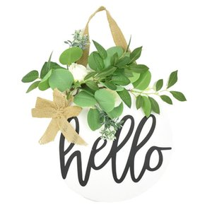 Hello Sign Rustic Front Door Decor Wreath Round Wood Hanging Sign Farmhouse Porch Decorations for Home, White