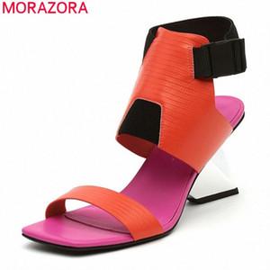 MORAZORA 2020 Новое Прибытие Мода Высокие каблуки Сандалии Летние Смешанные Цвет Классические Женские Насосы Высококачественная вечеринка Ботинки Сандалия Леди SHO K50L #