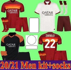 20 21 Kit Adulto Home Away Jersey 2020 2021 Como Pastore Dzeko Zaniolo El Shaarawy Men Kit Camisas de futebol