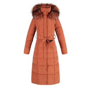2021 Women's Winter Jacket New Fashion Korean Style Jackets Parkas Slim Knee Thick Cotton Clothes Winter Coat with Waistband