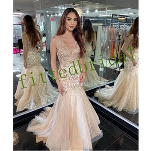 Sexy Deep V Neck Mermaid Evening Prom Dresses Luxurious Beading Cyrstal Sweep Train Sexy Backless New Prom Party Wear Dress Evening Gowns