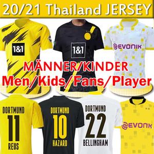 Dortmund Haaland Reus Hazard 20 21 Fans Player Version Soccer Jerseys Balr Sancho 110th Men Kids Kits طويلة الأكمام قمصان كرة القدم