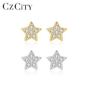 CZCITY Simple Stylish Star Sets Women Stud Earrings White Zircon Exquisite Versatile Brincos 925 Sterling Silver Bijoux Gift