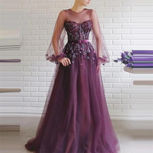 Floral Purple Prom Dresses With Belt Newest Beads Appliqued Lace Evening Dresses Long Sleeves Sweep Train A Line Party Gowns Custom Made