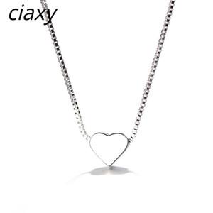 CIAXY 925 STERLING SLINLING WORD Formado collar colgante Minimalista Liso Lindo Charm Collar para Mujeres Personalidad Joyería