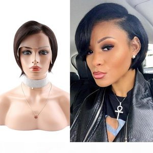 6inch 8inch 180% Short Bob Silky Straight Hair Lace Wigs Natural Black Human Hair Wigs Full Lace Wig Front Lace Wig 2020 Hot Sale