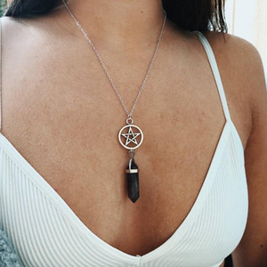 Fashion Natural Crystal Hexagonal Column Pentagram Pendant Wiccan Pagan Jewelry Spiritual Choker Star Necklace Gift For Women
