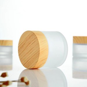 50 5 G 10 15   30 ML Empty Refillable Containers with Wooden Grain Screw Caps and Inner Lids, Round Glass Jars for Cosmetic Body