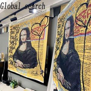 130X150cm Mona Lisa Tapestry Wall Hanging Bohemian Beach Mat Polyester Blanket Yoga Mat Home Bedroom Art Carpet L0311