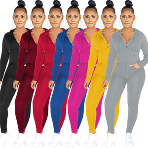 Womens tracksuits long sleeve outfits two piece set jacket jogging sport suit sweatshirt tights sport suit women zipper tops + pants klw0654