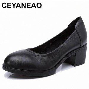 Ceyaneao 2019 donne in vera pelle tacchi alti pompe femminili OL comodo scarpe da lavoro nero 34-41E1927 Q40C #