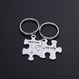 New lovers puzzle Keychain titanium steel Valentine's Day gift Pendant
