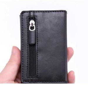 Dienqi Carbon Rfid Credit Card Holder Men Leather Metal Wallets Slim Coin Holder Bank Cardholder Case Travel Minimalis qylkLw