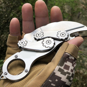 Outdoor Knife Portable Folding Multifunctional Mechanical Self-Defense Ring Knife CS Game Claw Knife For Free DHL