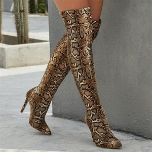 Women Boots High Heels Pointed Toe Snake Pattern High Boots Over The Knee Slim Tight Socks Party Boot Pumps Lady Boot Knee High Boots B36s#