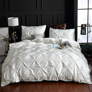 Silk Washed Bedding set Luxury Duvet Cover Double Bed Coverlet Queen Size Bed Sheets set Comforters Solid Color Linens XY37#