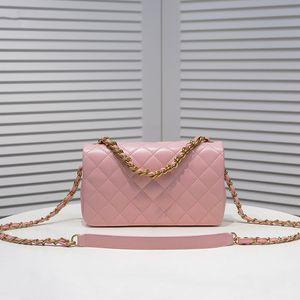 Diseñadores de lujo bolsas de bolsos bolsos bolsos bolsos 311 Cadena de moda Bolsa de hombro Diamante Lattice Handbag Lambskin Gold - Tono Metal Pink
