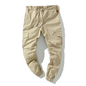 Men's Pants Men Solid Color Casual Multi Pockets Elastic Waist Male Ankle Tied Drawstring Cargo Trousers Autumn