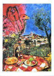 Marc Chagall Şehrin Üzerinde Ev Dekor Handpainted HD Baskı Yağlıboya Tuval Duvar Sanatı Tuval Resim 210225