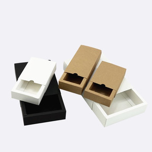 Black Kraft Gift Package Card Box Black Packing Gift Box White Paper Drawer Box Wedding Favor Delicate