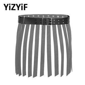 Mujeres punk gótico cintura cinturón moda cuero cuero cintura franja borla falda correa fiesta de baile rendimiento accesorios