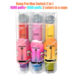 Descartável Vape Bang Interruptor Pro Max XXL 2 em 1 e Cigarros 2000 Puffs 16350 Bateria 6ml mais barras XXTRA Dupla Vape Pen