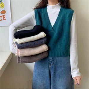 Frauen Pullover Herbst Winter 2021 Koreanische Stil Casual v-Ausschnitt Kurze gestrickte Pullover Weste Sleeveless Pullover WAISTCOAT Tops