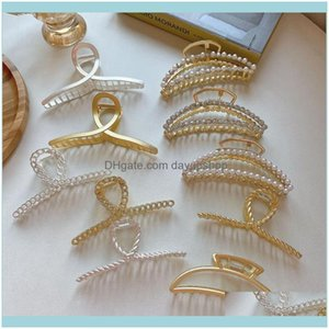 Jewelryminimalist Pearl Hair Claw Golden Geometric Jewelry For Women Female Korean Clip Pin Fashion Barrettes Mg436 Clips & Drop Delivery 20