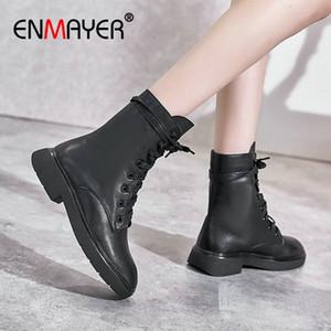 Enmayer 2020 stivaletti per le donne in vera pelle di punta rotonda pizzo pizzo stivali da moto stivali quadrati tacco invernale scarpe da donna taglia 34 39 marrone N1cc #