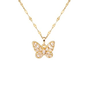Minar Korean Style Shiny Crystal Butterfly Pendant Necklace Titanium Steel Hollow Chain Necklaces for Women Female Jewelery