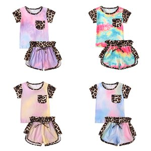 Kids Casual Sport Clothing Sets Baby leopard Clothing Sets Summer Short Sleeve Top + Shorts 2pcs set Infant tie dye outfits Short Sets M3325